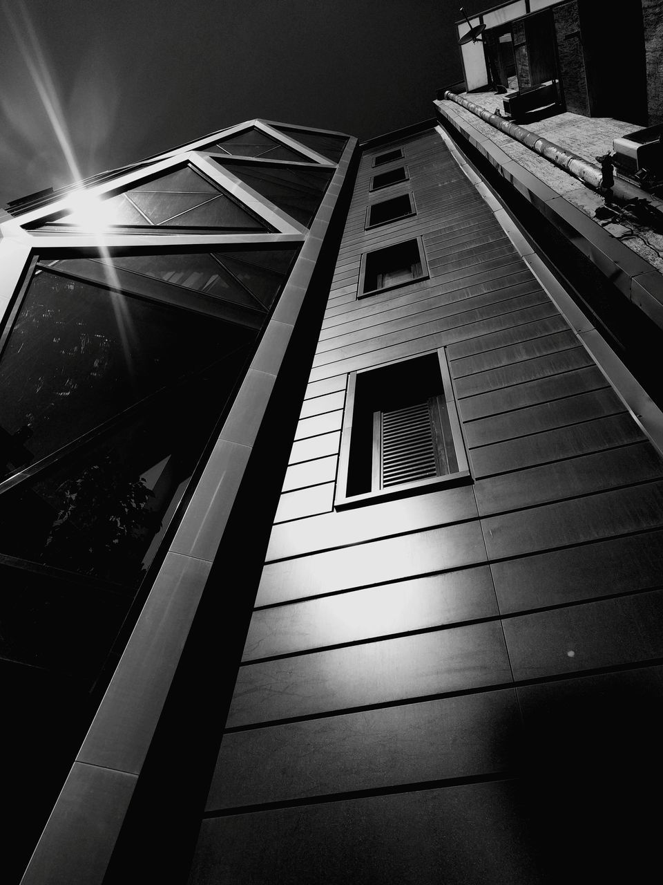 architecture, built structure, low angle view, building exterior, illuminated, day, indoors, no people, sky