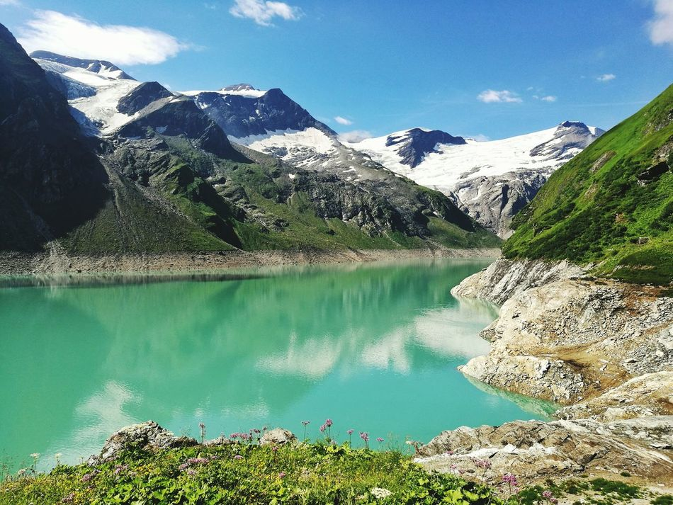 Landscape Lake Reflection Mountain Range Mountain Beauty In Nature No People Austrian Alps Austria Austria Mountains Bestplace Agriculture Beauty In Nature Cloud - Sky Green Color Stausee Mooserboden Mooserboden Stausee Nature Austrianalps Water Travel Photography Travel Traveling