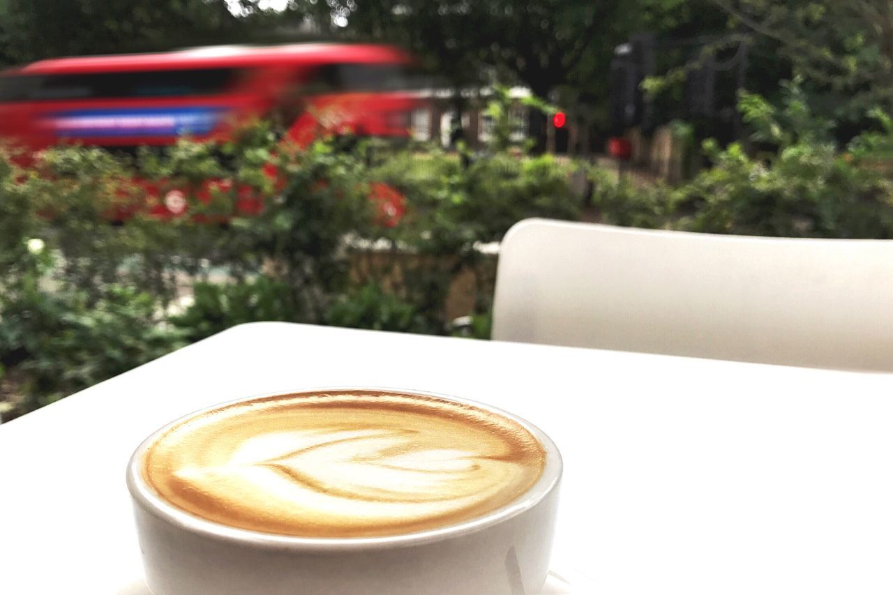 Coffee Cup Coffee - Drink Drink Refreshment Frothy Drink Table Cappuccino Food And Drink No People Froth Art Focus On Foreground Close-up Latte Day Freshness Tree Outdoors Nature From My Point Of View Quiet Places EyeEm LOST IN London
