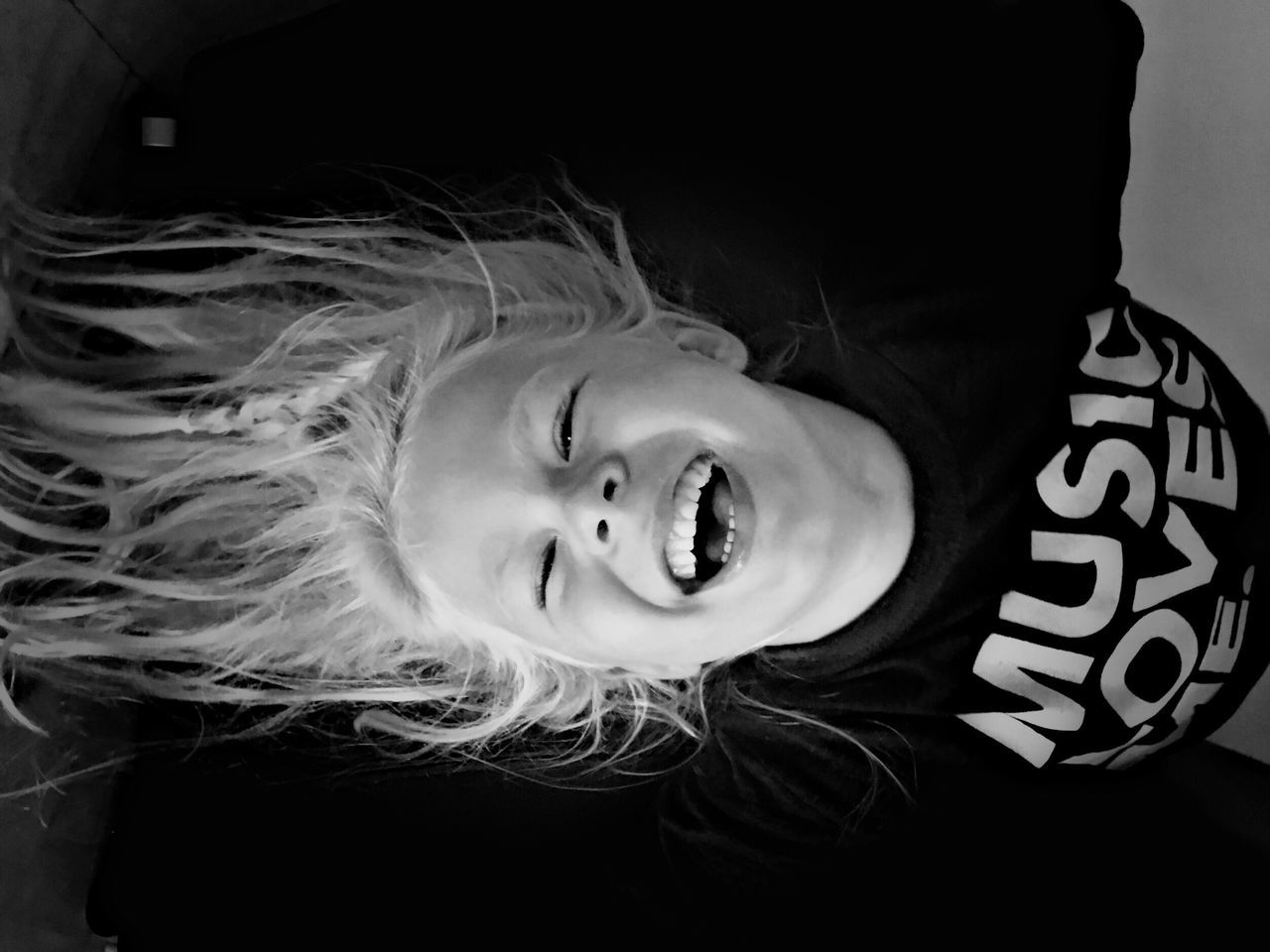 Dramatic Angles Childhood Indoors  Elementary Age Headshot Person Cute Leisure Activity Lifestyles Innocence Casual Clothing Black And White Laughing Girl Blond Hair Laughing Out Loud Laugh Playing Gravity Monochrome Photography