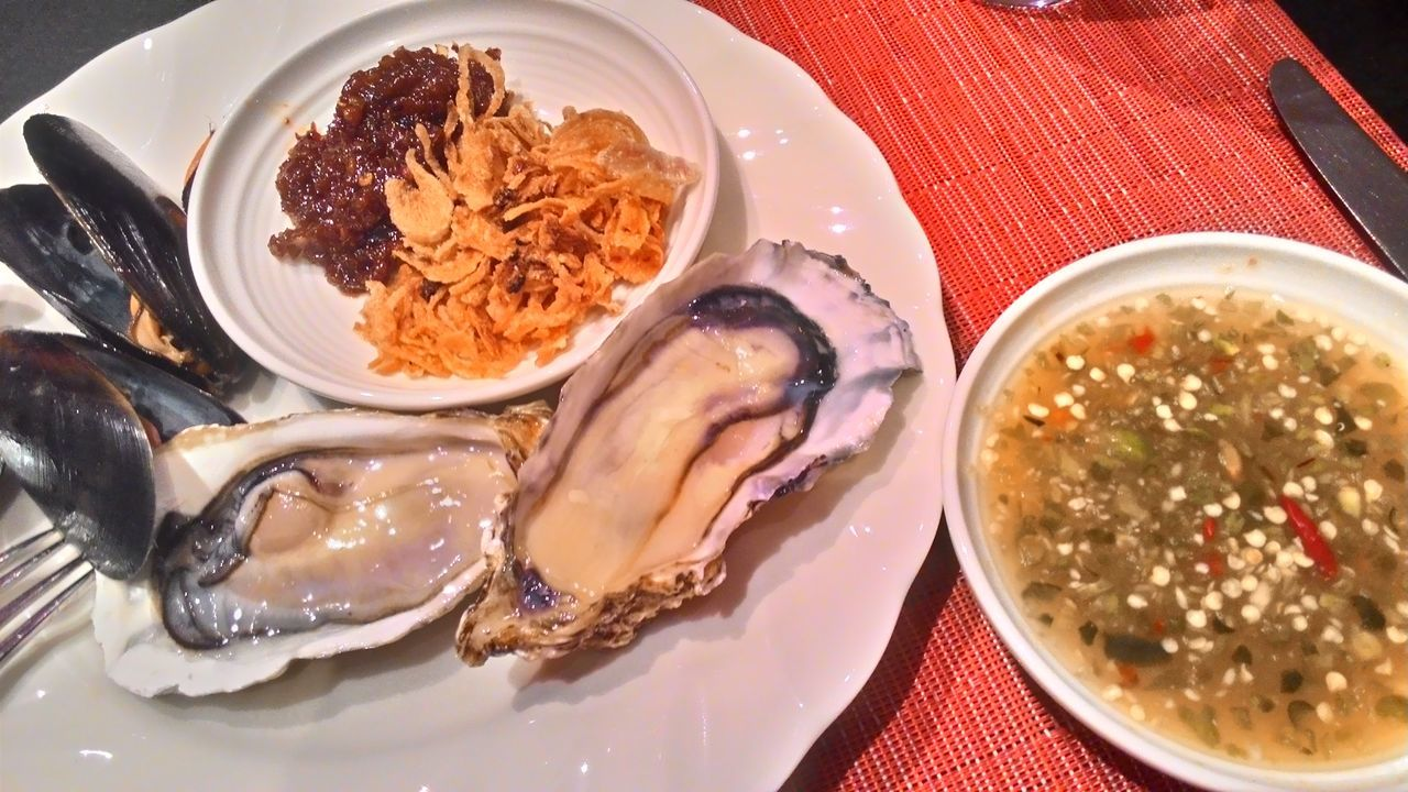Thai style oyster Thai Style Oyster  Sauce Dipping Plate Dish Seafood Spicy Chili  Fresh Crispy Black White Red Brown Green Yellow Orange Sour Set Buffet Menu Dinner Meal