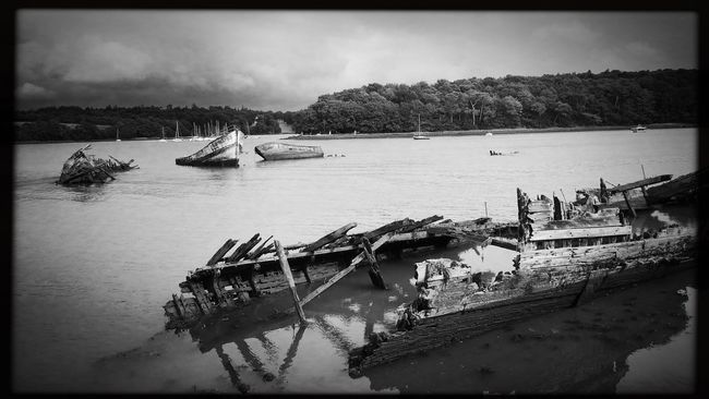 Lorient Lanester cimetière à bateaux de Kerhervy en Bretagne