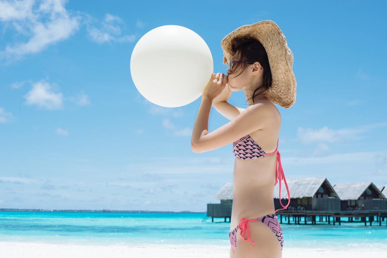 Beautiful stock photos of bikini, 30-34 Years, Balloon, Beach, Bikini