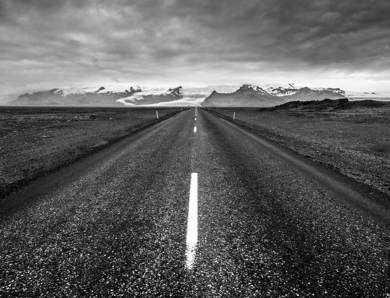 Asphalt Black And White Cloud - Sky Day Explore Iceland Islande Landscape Monochrome Nature No People Noir Et Blanc Outdoors Road Road Sky Travel Wanderlust