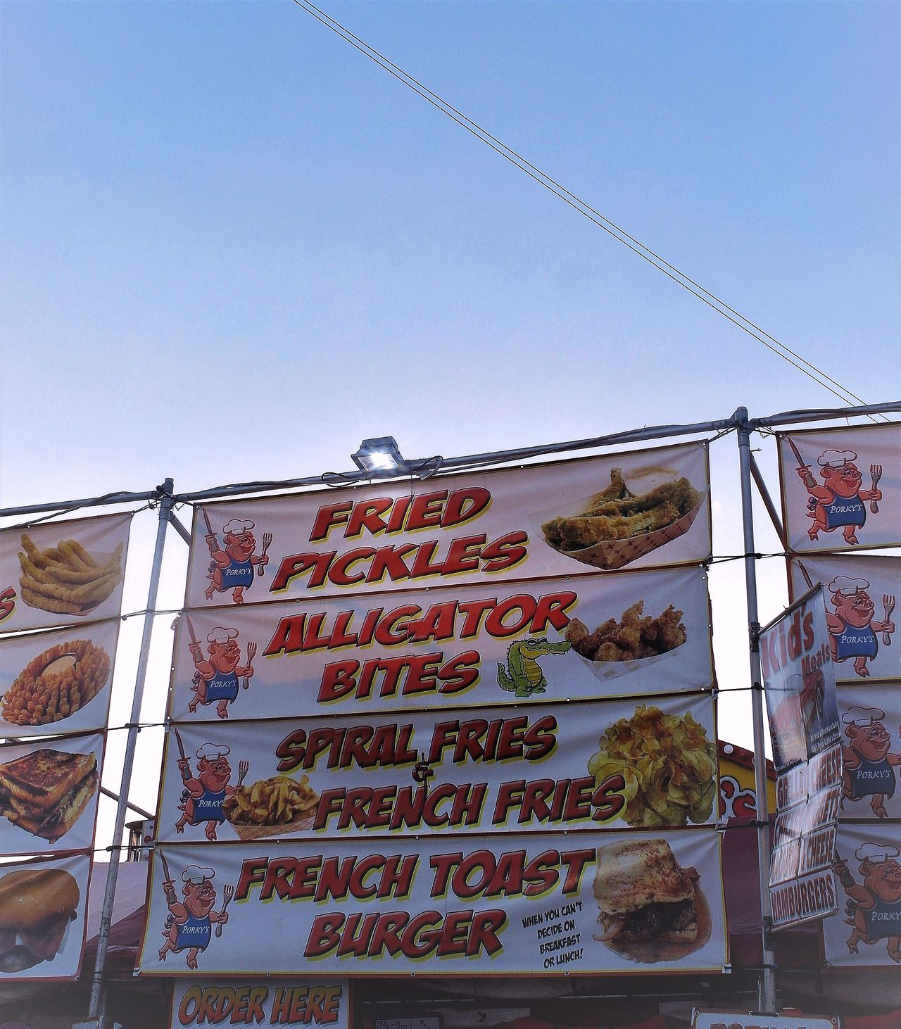 "i have to admit ""fair"" food does smell pretty good !!! Clear Sky Food Friedfood Low Angle View Words"