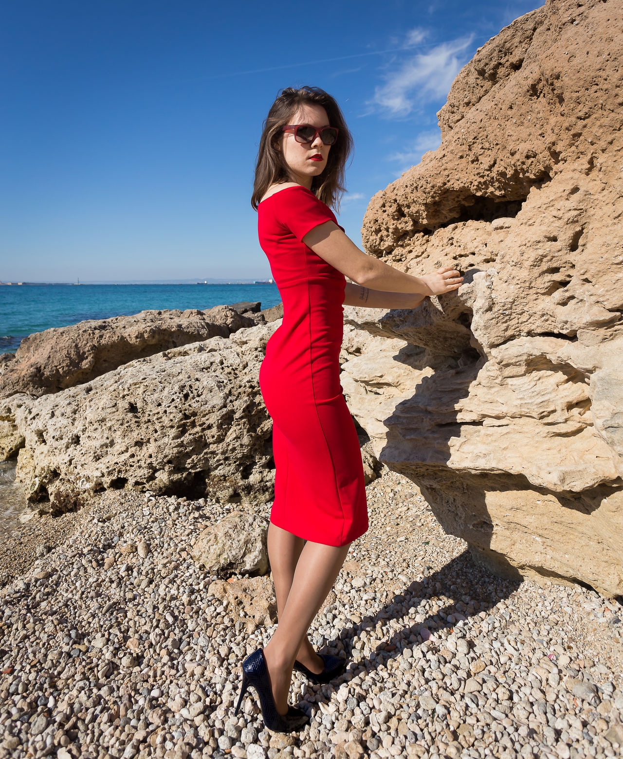 Beach Beautiful Beautiful People Beautiful Woman Beauty Dress Elégance Full Length Girl Looking At Camera Nature Only Women Outdoors Port Portrait Portraits Red Red Dress Sea Side View Standing Sunglasses Sunlight Women Of EyeEm Women Who Inspire You