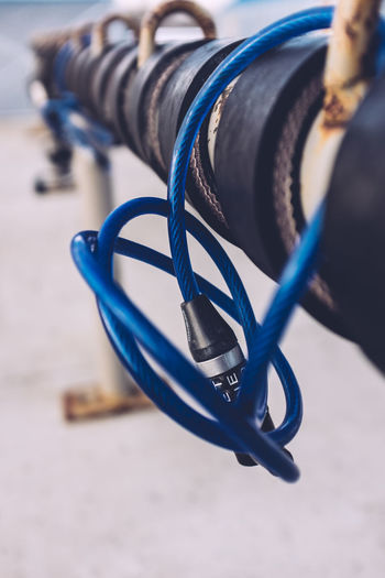 Bike Lock Bike Rack Blue Close-up Day Lock No Bikes No People Outdoors