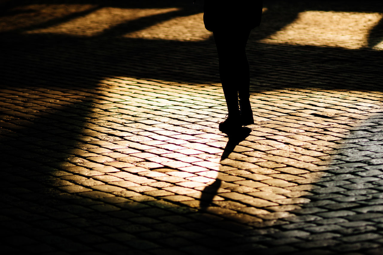 street reflections Cobblestone Day Focus On Shadow Human Leg Lifestyles Low Section One Person Outdoors People Real People Shadow Silhouette Standing Street Streetphotography Sunlight Women