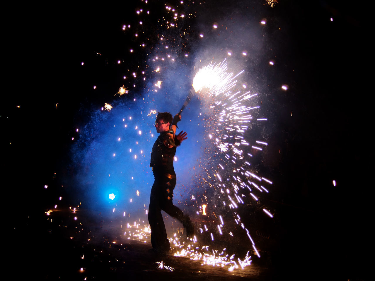 fire dancer Celebration Dancer Exploding Fire Dancer Firework Firework - Man Made Object Firework Display Motion Night One Person Outdoors People