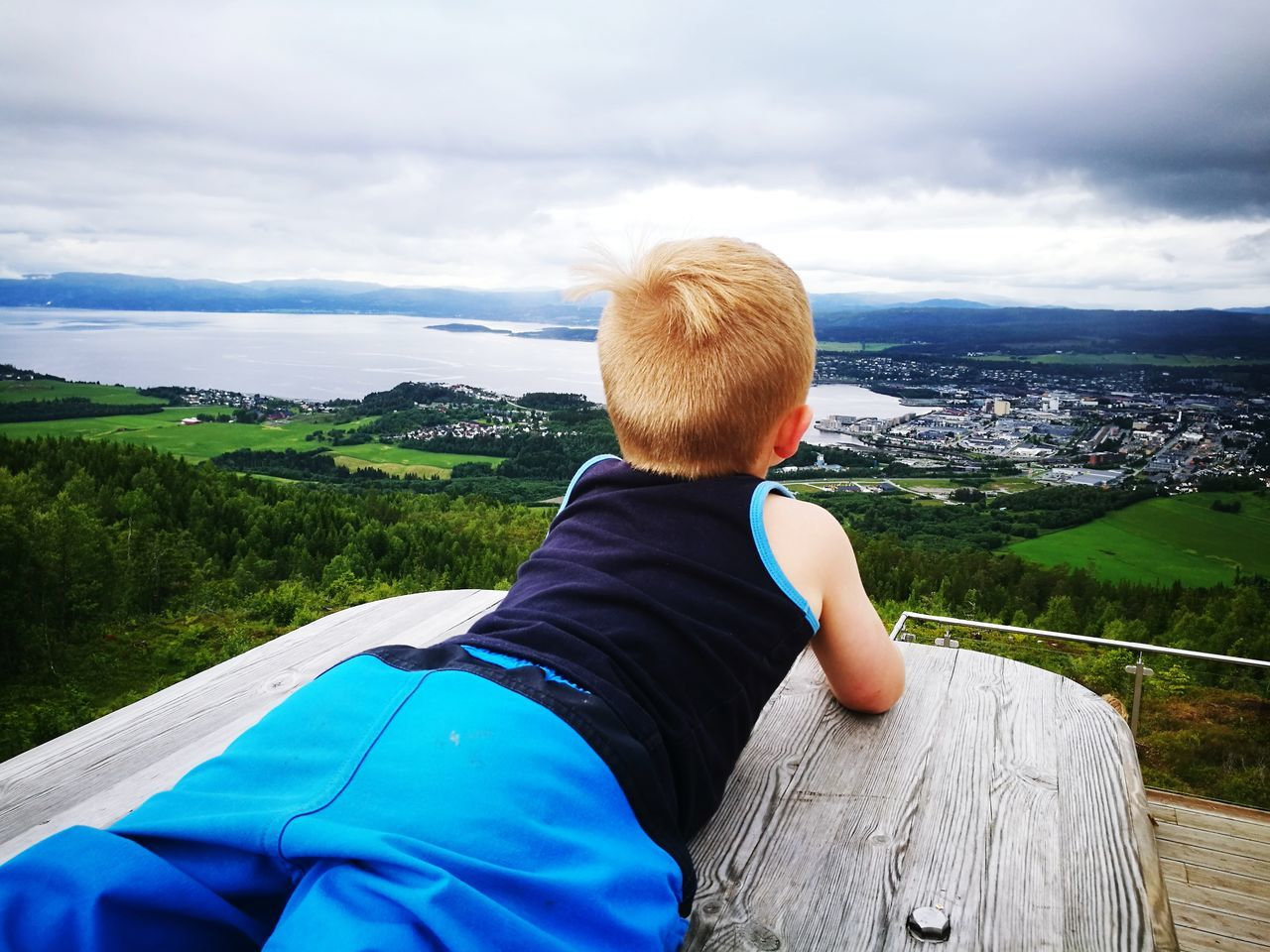 Rear View Of Boy Lying On Bench While Looking At Landscape