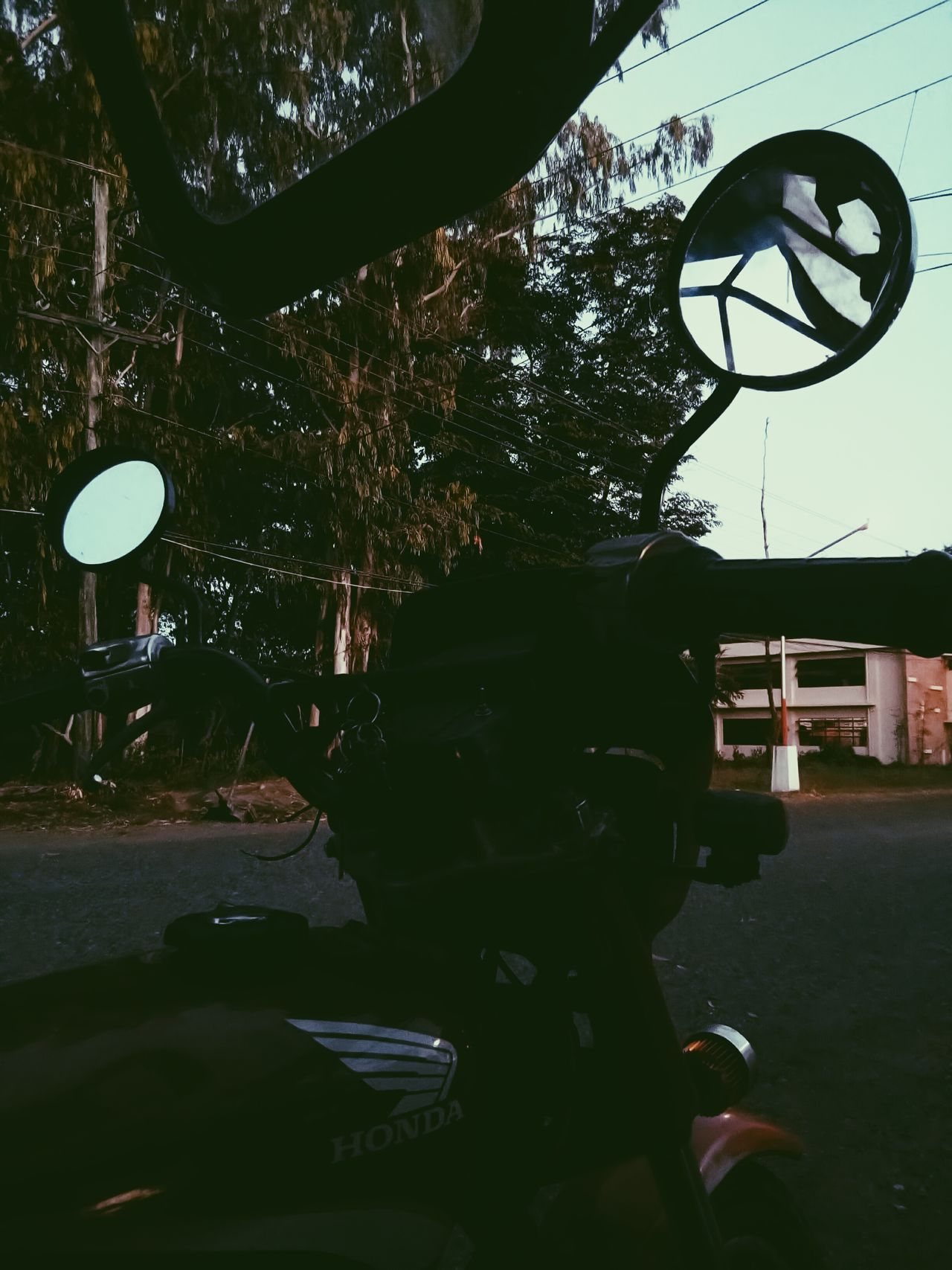 Late Afternoon Shadows Motorcyle Nature Trees Cable Wires Outdoors No People