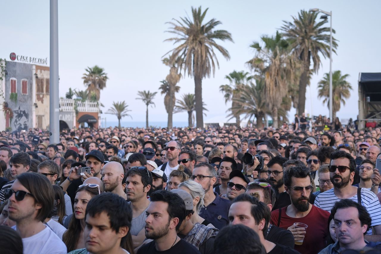 large group of people, palm tree, crowd, men, real people, women, day, lifestyles, outdoors, tree, togetherness, sky, adult, people