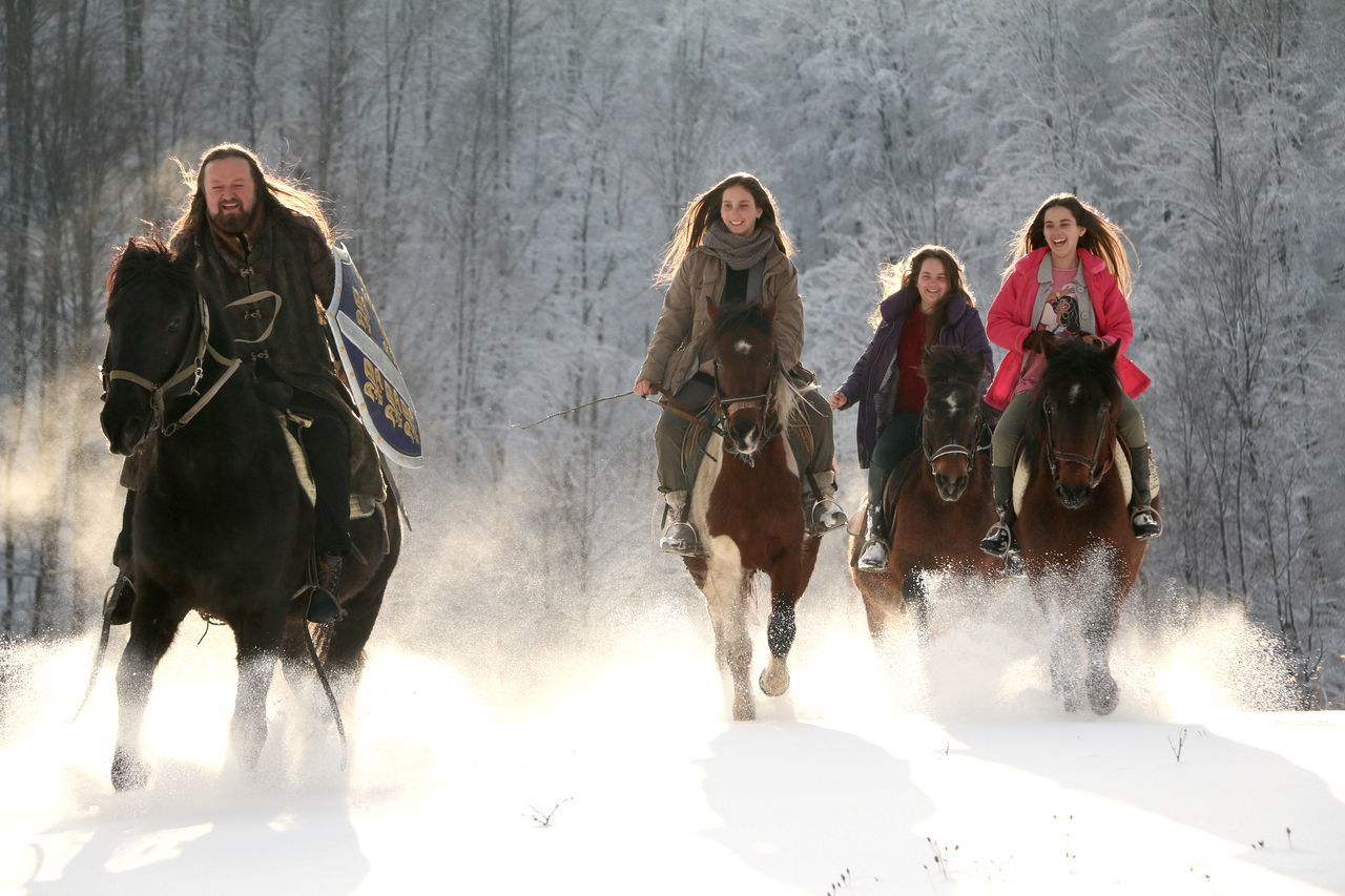 Adult Animal Themes Bosnia Cold Temperature Cowboy Hat Day Domestic Animals Full Length Girls Horse Horseback Riding Long Hair Outdoors People Riding Sisters Snow Srebrenica Togetherness Warm Clothing Winter Young Adult