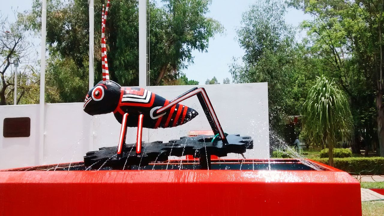 red, tree, day, transportation, mode of transport, no people, outdoors, land vehicle, nautical vessel, nature, water, fire engine
