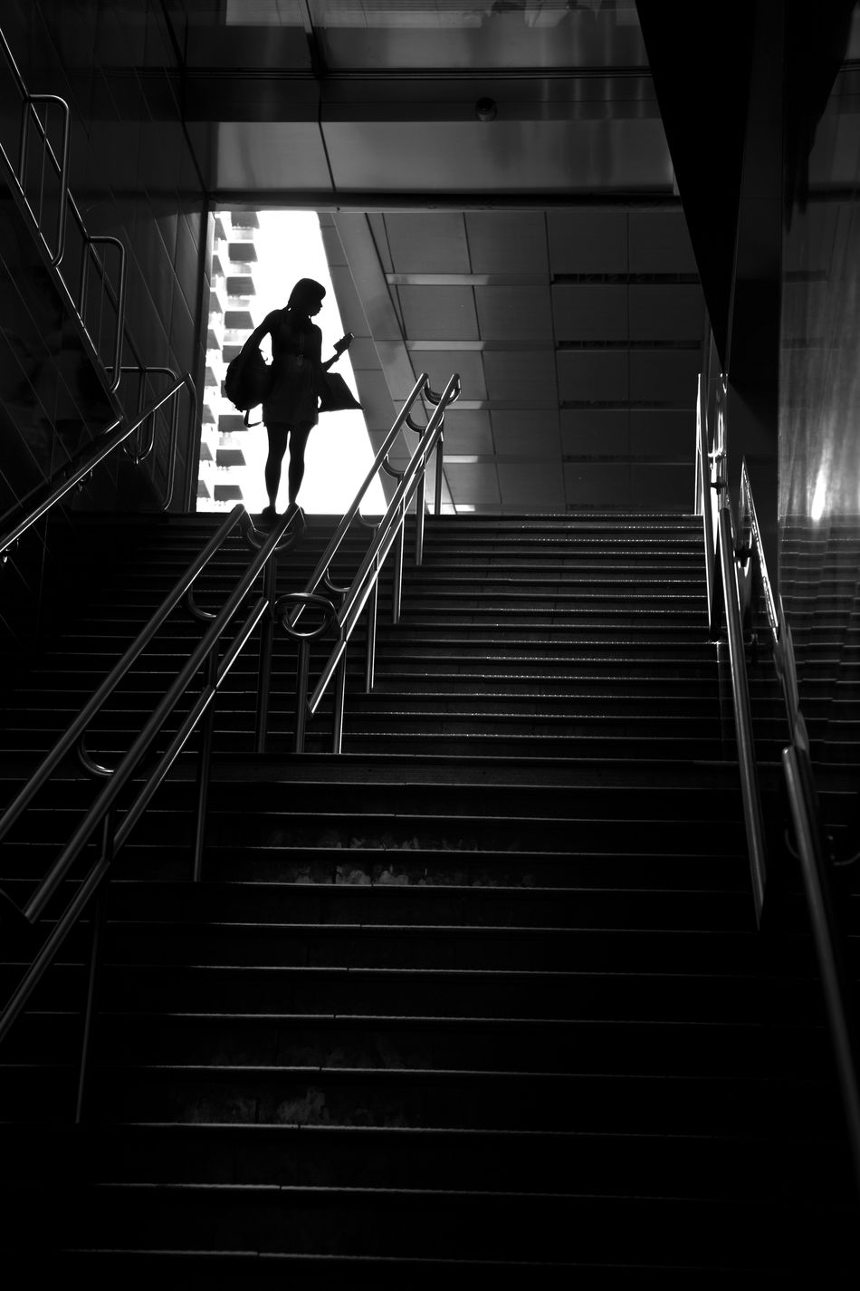 Black & White Checking Cell Phone Female Figure Silhouette Of A Woman Steps And Staircases