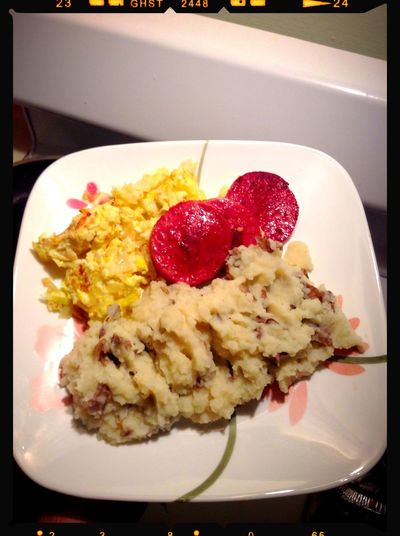 Dinner Time Dinner Smashed Potatoes Cooked Salami & Scrambled Eggs