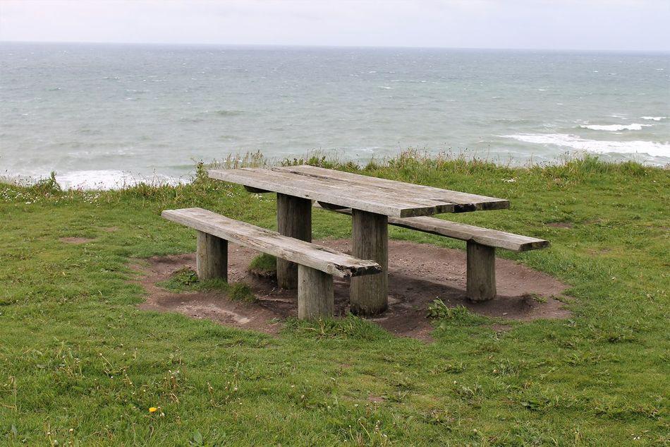 Beautiful coast view at Denmark Coast View Denmark Coast Dänemark Küste Holzbank Holztisch Nature Sea Water