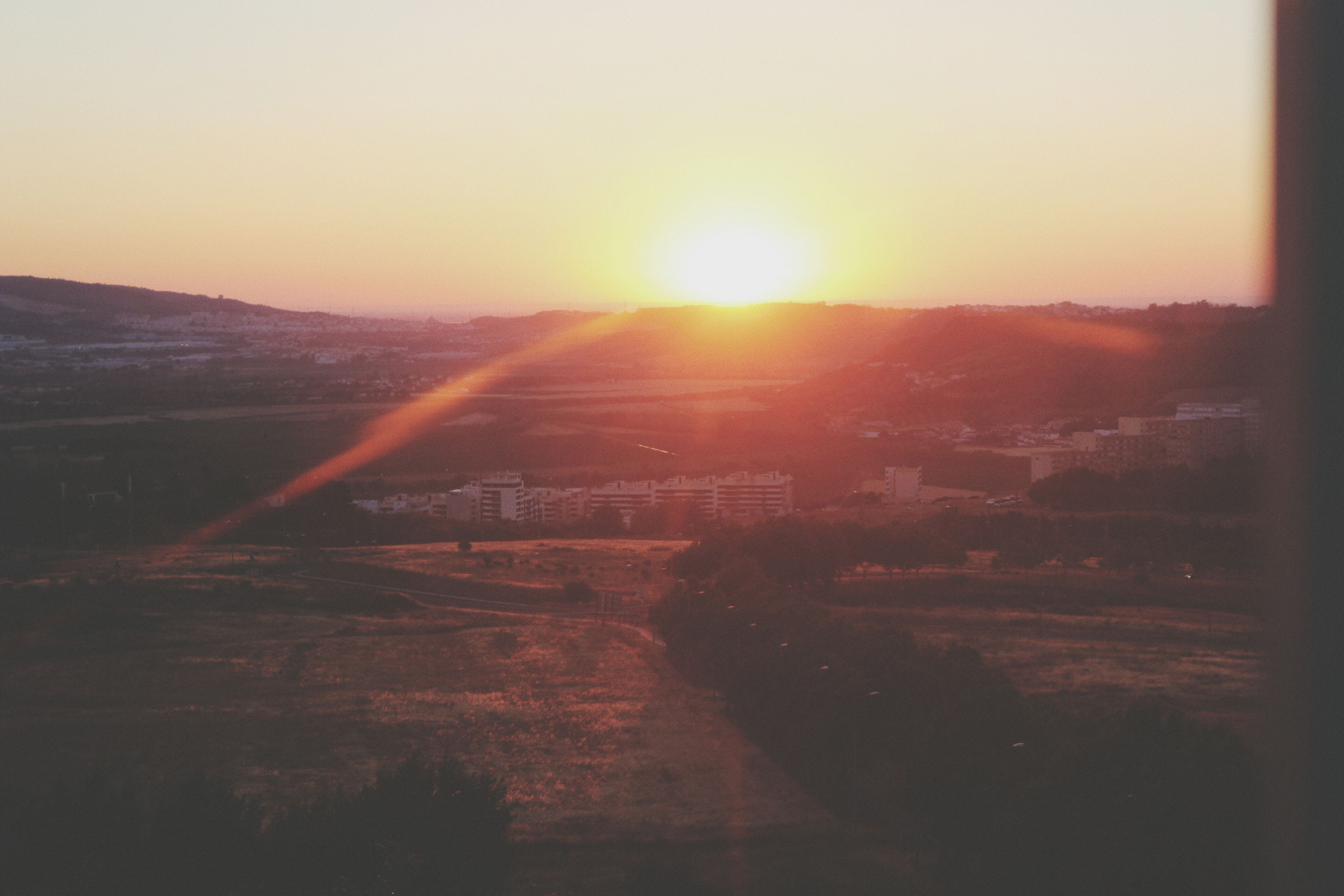 sun, sunset, sunlight, sunbeam, lens flare, clear sky, landscape, tranquility, tranquil scene, scenics, beauty in nature, nature, copy space, orange color, sky, bright, no people, idyllic, outdoors