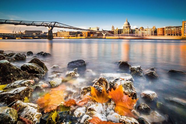 London Lifestyle London Uk Thames River English Heritage Saint Paul's Cathedral Millenium Bridge City City Life Cityscape Travel Holiday Long Exposure Water Water Reflections Nopeople Copyspace
