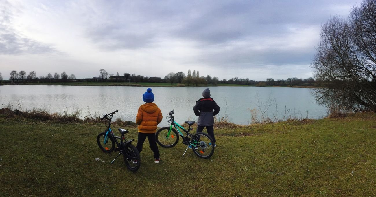 From The Back Sky Bicycle Panoramic Panoramic Photography Landscape Water Lifestyles Nature Real People Beauty In Nature Outdoors Togetherness Friendship Brotherhood Kids
