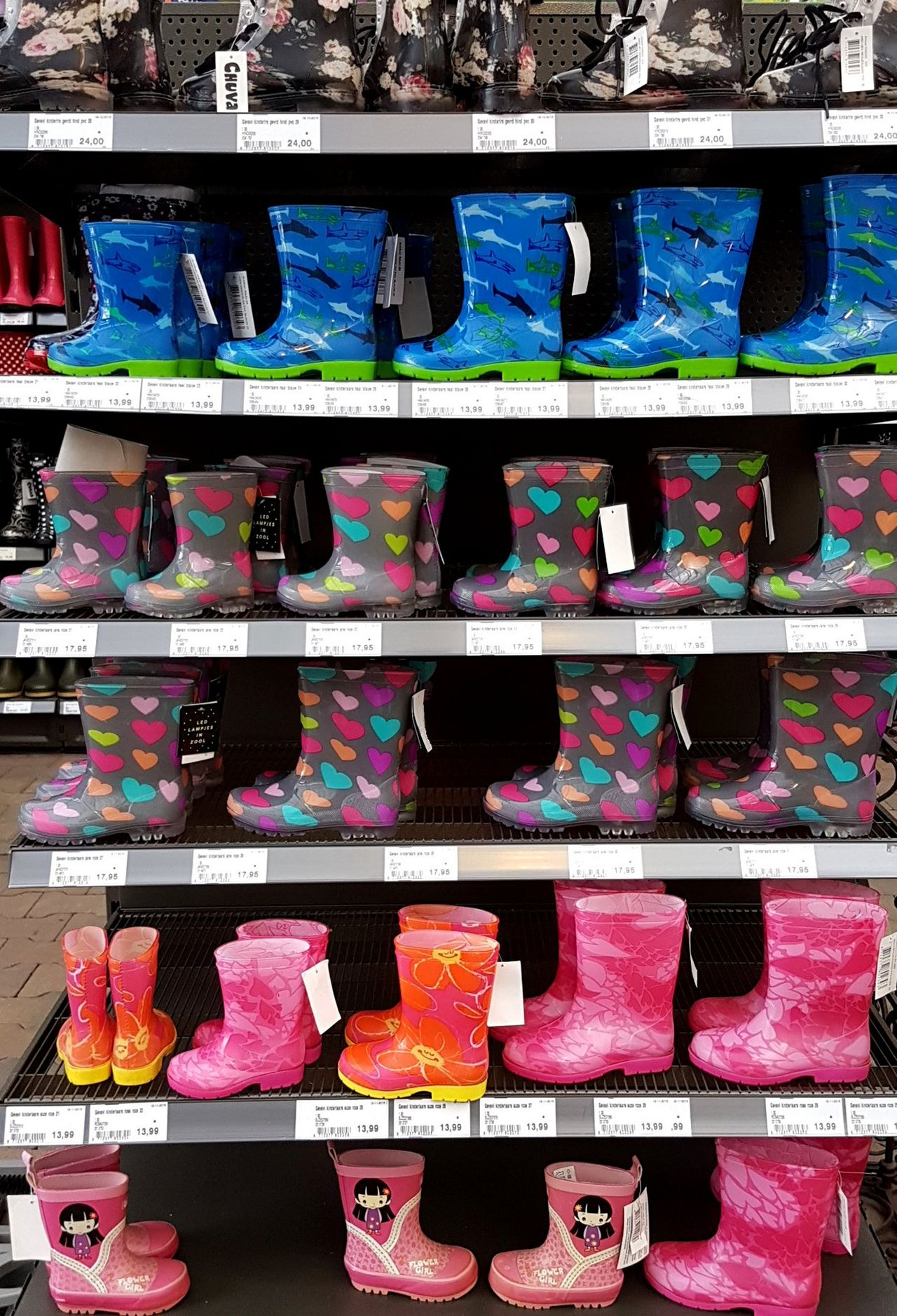Autumn Bad Weather Shoes Business Children's Boots Choice Colourfull Fall Indoors  Large Group Of Objects Multi Colored No People Rain Retail  Shelf Shop Store Variation
