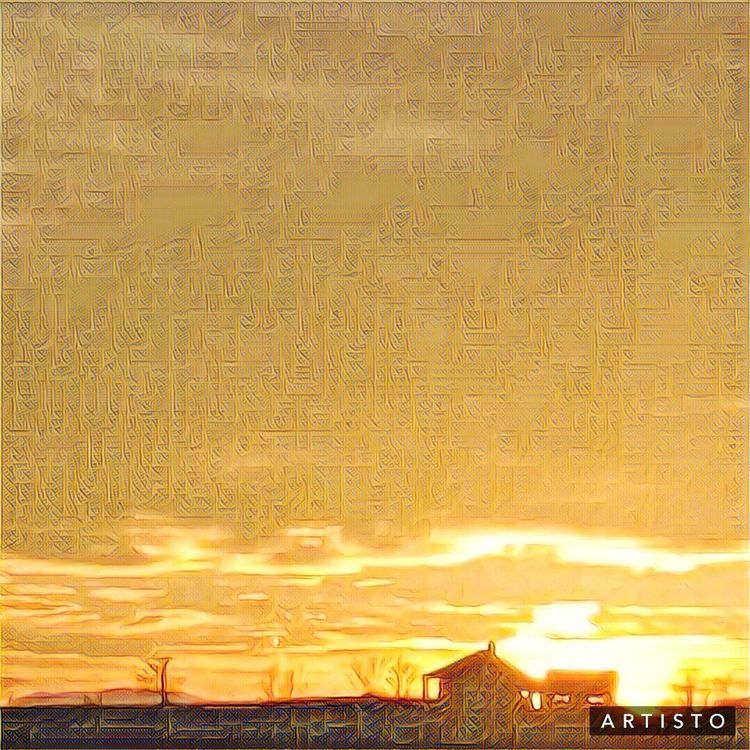 Old Farmhouse with sun setting Sunset No People Yellow Outdoors Nature Sky Beauty In Nature Day