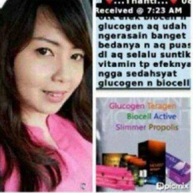 Testi pemakaian Moment Glucogen dan Biocell … Kamu ketergantungan banget sampe harus suntik vitamin terus? Jangan deh, ga terlalu baik untuk kesehatan, cukup minum Glucogen dan Biocell kamu udah sekinclong orang sering suntik Vitamin!! Apa itu Glucogen? … ♥ GLUCOGEN = Glutathione + Collagen ♥ Susu bubuk strawberry dengan kandungan Glutathion + Collagen dengan No. BPOM MD 867013011850 dan Halal … ☆Rahasia untuk : SEHAT, CANTIK, PUTIH dan AWET MUDA ☆Fungsi GLUCOGEN untuk kulit : ♥ Menurunkan pigmen gelap melanin ♥ Memutihkan kulit secara keseluruhan (permanen), meratakan warna kulit yg belang menjadi putih ♥ Mencegah timbulnya jerawat dan mempercepat proses penyembuhan jerawat ♥ Menghilangkan noda-noda hitam bekas Jerawat / flek2 akibat sinar matahari, faktor usia, maupun krn KB ♥ Memutihkan bagian-bagian yang hitam pada ketiak, lutut, siku, dan selangkangan ♥ Mengurangi garis2 kecil dan Keriput ♥ Mengembalikan kulit dan mendetoks kulit sehabis terkena krim2 bermerkuri ♥ Mengurangi kemerahan yg disebabkan peradangan atau kulit sensitif ♥ Menjadikan kulit lebih kencang, kenyal dan elastis ♥ Kulit akan terasa cerah bersinar, segar dan terlihat awet muda ☆Fungsi GLUCOGEN untuk kesehatan : ⇨Mencegah kanker ⇨Membuang zat-zat beracun pada tubuh ⇨Menyembuhkan pusing2, migrain hingga vertiligo ⇨Membantu penyembuhan kolestrol, diabetes, asma, sinusitis, TBC ⇨Mencegah berbagai macam penyakit akibat radikal bebas ⇨Mengurangi kerontokan rambut ⇨Menguatkan tulang ⇨Menghilangkan nyeri2 pada tulang ⇨Menambah stamina ⇨Dan masih banyak manfaat lainnya ☆Aturan pakai : Diminum 2hari sekali (standard) atau 1 hari skali (untuk hsl lebih cepat) tiap malam sebelum tidur. Diseduh dengan 200ml air putih biasa. Yuu, yang mau glucogent nya sista, tanpa efek samping lohh :) … ⊙ minat? add PIN : 7d317d9c or Line: ollabutterfly .. ⊙ Harga belum termasuk Ongkir. ⊙ FOR SERIOUS BUYER ONLY !! ⊙ Transfer via : - BCA & MANDIRI : a.n Olla …