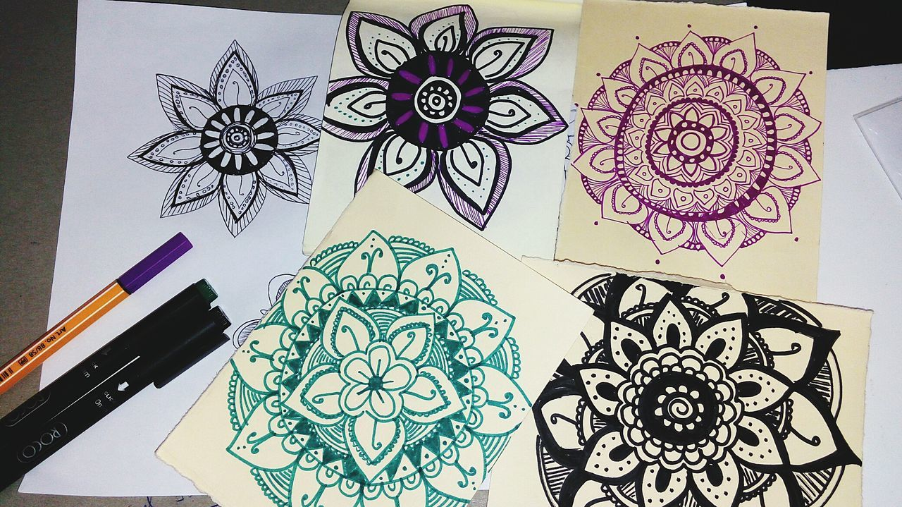Art And Craft Creativity Ink Paper Indoors  Drawing - Art Product No People Sketch Pad Close-up Pencil Drawing Mandala Mandala Art Freespirit Freespirited Universe Art Angeldraws Angelart