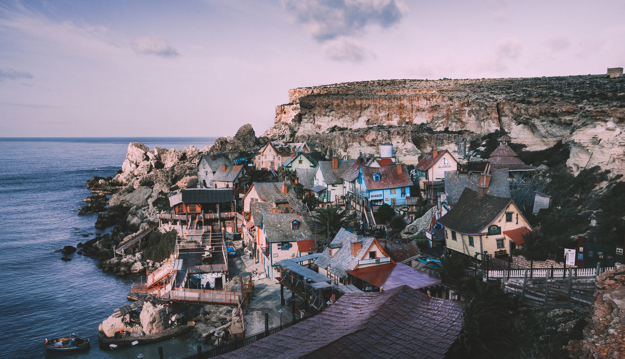 Architecture Building Exterior Built Structure Cute Day Horizon Over Water Malta Nature No People Outdoors Popeyevillage Sea Sky Small Houses Town Village Water