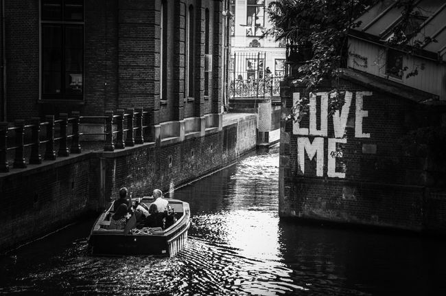 Love Me Water Architecture Canal Built Structure Building Exterior City Transportation Nautical Vessel Outdoors Bridge City Life Peace And Love. Amsterdam
