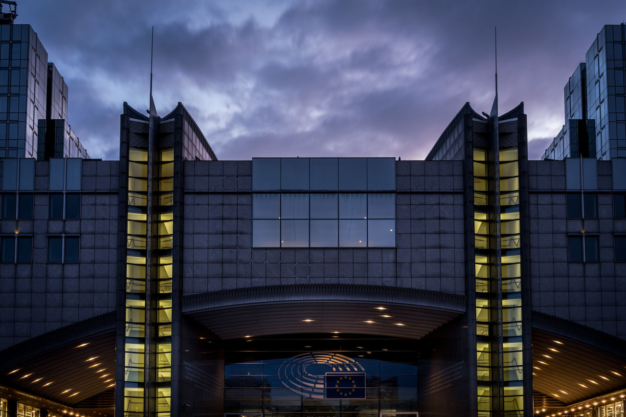 Moody Morning Sky at the European Parliament Architecture Building City Clouds Clouds And Sky European Parliament Europeanparliament Europeanunion Glass Glass - Material Modern Moody Moody Sky Morning Morning Sky Office Building Sky Sky And Clouds Window