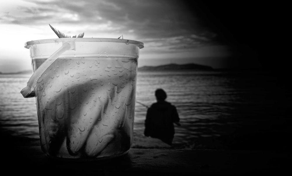Blackandwhite Bostancı Sahili Fish Fisherman Fishing Sea