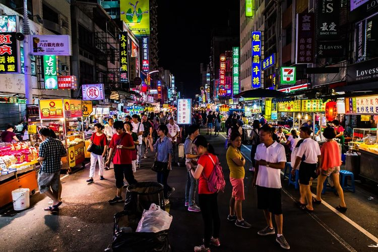 Bunch of people enjoy the atmosphere in night market. City City City Street Cityscape Eat Eating Illuminated Large Group Of People Lively Mar Market Multi Colored Night Nightmarket People People And Places Rich Rich Colors Street Streetphotography Taichung Taipei Taiwan Traditional Market