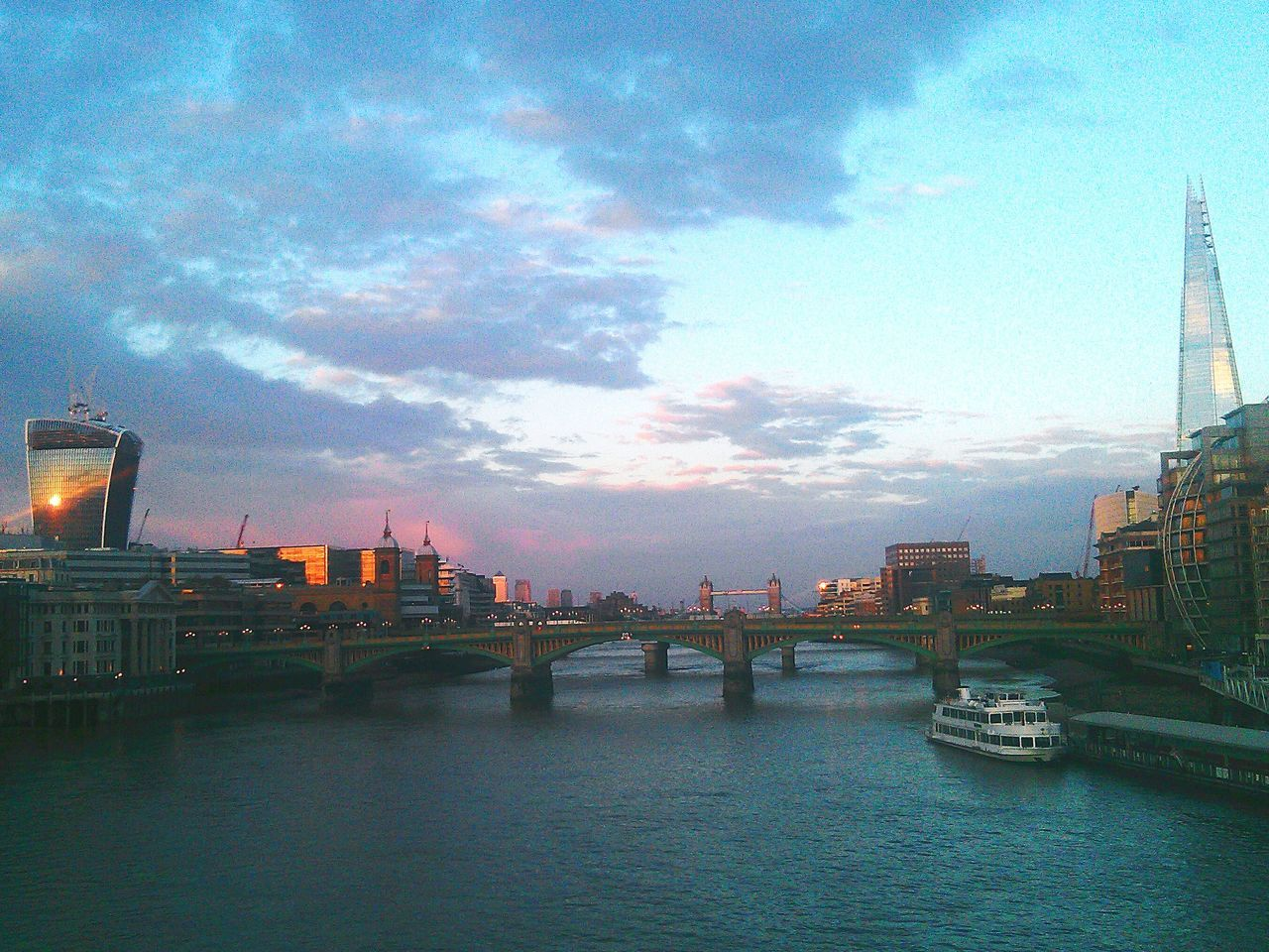 The Shard, London Tower Bridge  River Thames Evening Walk Cityscapes Exolore Your City Londonlife Discover Your City Sunset Sun Reflection