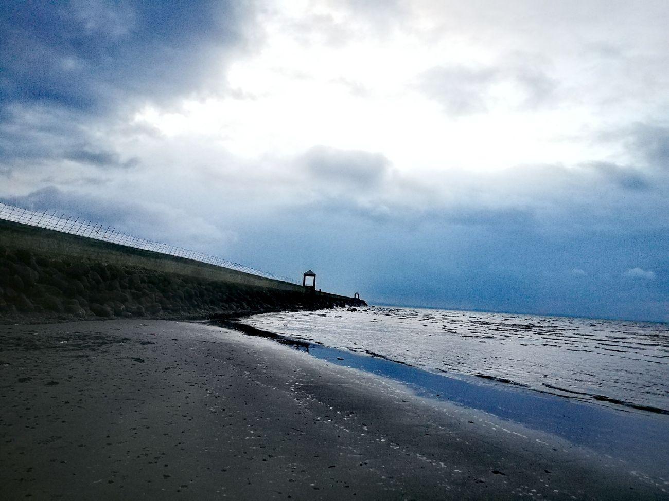 Horizon Over Water Beachtime Dawn Blue Water Beach Sky And Clouds Sea Wall Seashore