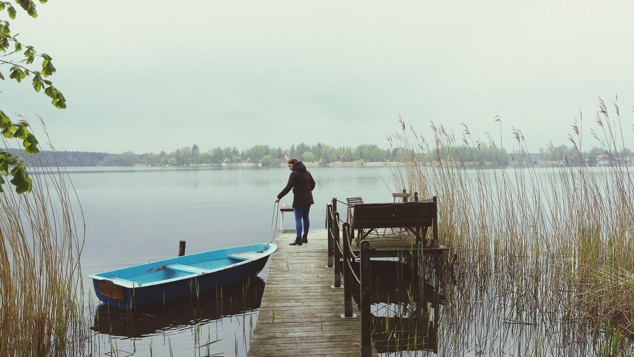 Lake Water Fishing Adult Fisherman One Person Outdoors Boat Nature Brandenburg