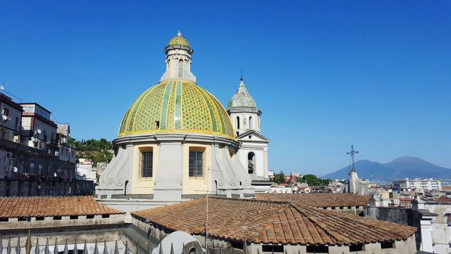 Architecture Building Exterior Built Structure Spirituality Religion Place Of Worship Dome Travel Destinations Tourism Religion Famous Place Church History Spire  Mosque Blue Sky Architectural Feature Outdoors International Landmark Naples, Italy