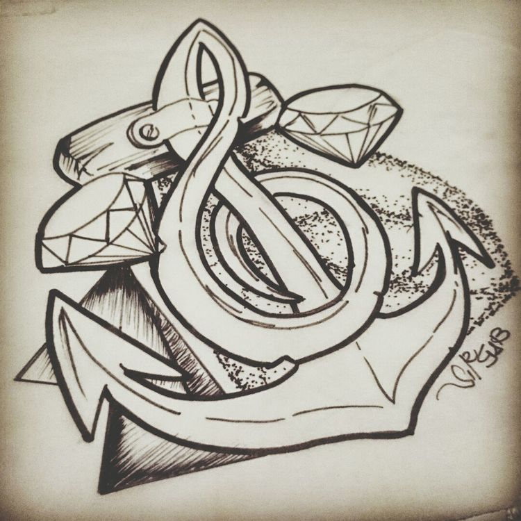 a Tattoo Design of an Anchor g Clef shaped with some #rubies by myself, by Gabbo #sirgab