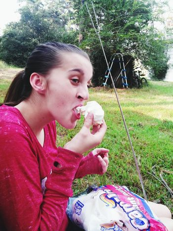 Festival Season Roasted Marshmallows Marshmallows Stickyfingers Sticky Marshmellow Bag Ponytail My Daughter Daughter Daughterlove Daughter Eating Taking Photos Check This Out Beautiful Girl Hanging Out Enjoying Life My Daughter Is My World(: