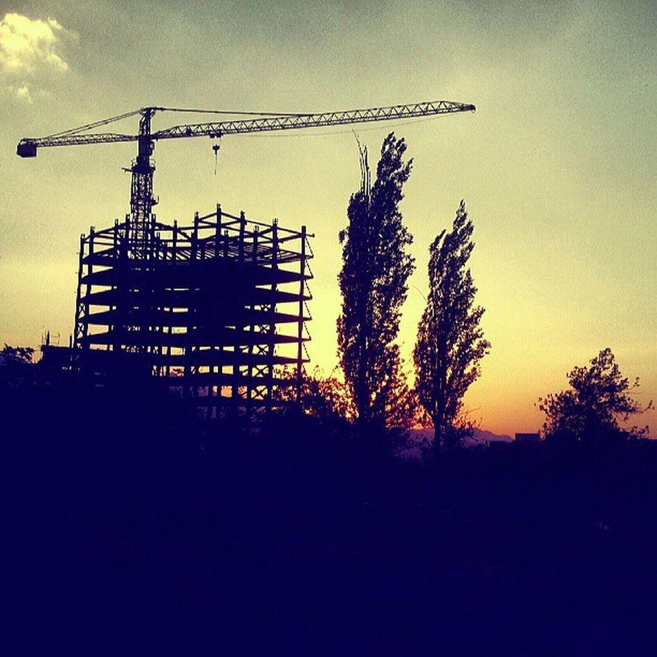 Hamadan Hamedan Sunset Bulding Construction Silhouette Trees