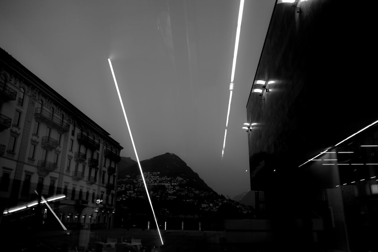 Architecture Landscape Light Low Angle View Lugano Mountain Night No People Outdoors Panorama Reflections, Sky, Trees And City Lights Sky