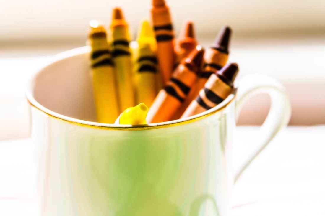 Crayons Coffee Cup Gold And White Shades Of Yellow Crayon Simple Art Simple And Beautiful End Of Day Creativity Shallow Depth Of Field Soft Light