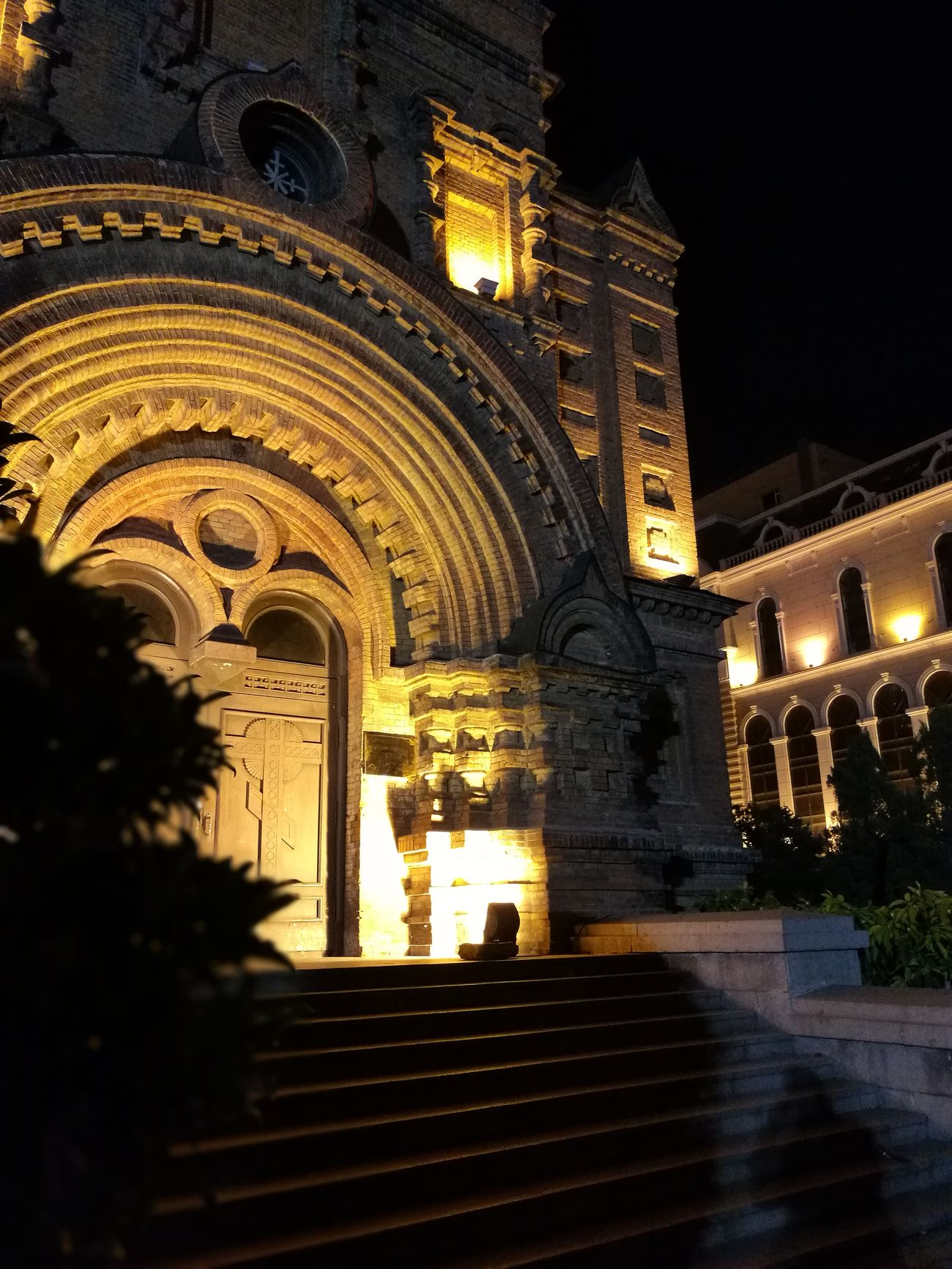 Arch Architecture Building Exterior Church Entrance Harbin Low Angle View Night Religion Saint Sofia Church