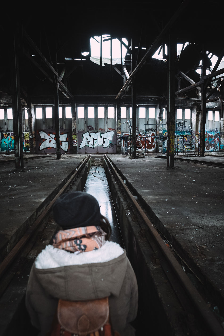 At the old train yard Abandoned Abandoned & Derelict Abandoned Buildings Abandoned Places Adventure Berlin Berlin Photography Berlinstagram Explorer Girl Ice One Person Sitting Train Yard Urban Exploration Urban Explorer Urban Exploring Woman