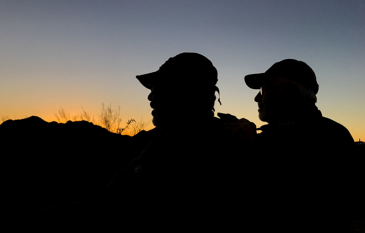 Two Men Watching Sunrise Bonding Clear Sky Friendship Men Nature Outdoors People Real People Silhouette Sky Sunrise Sunset Togetherness Two People