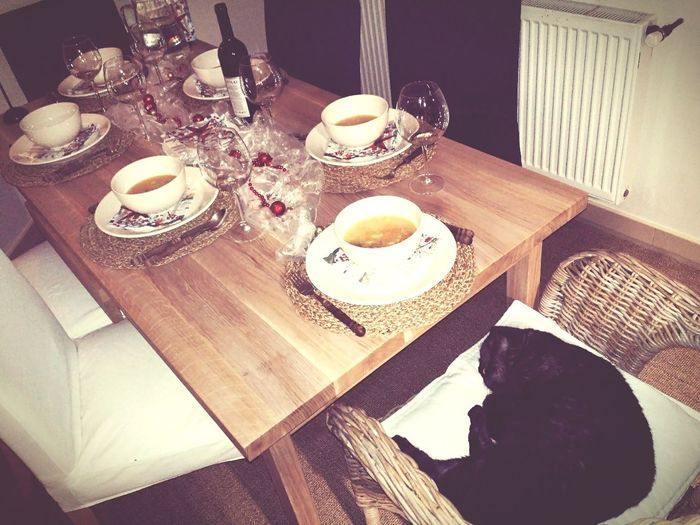 Christmas table and its emperor. High Angle View Table Indoors  Plate Dining Table Food And Drink Salt Shaker Teapot No People Drinking Glass Ready-to-eat Cat Cats Cats Of EyeEm Celebration Christmas Tradition