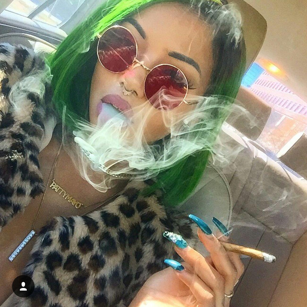 Pattyeffinmayo High Life Photography Gorgeous Aesthetics Urban Fashion Urbanstyle Weed Weed Life Long Nails Nails Blunt Fashion Makeup Eyebrows On Fleek Green Hair Smoking