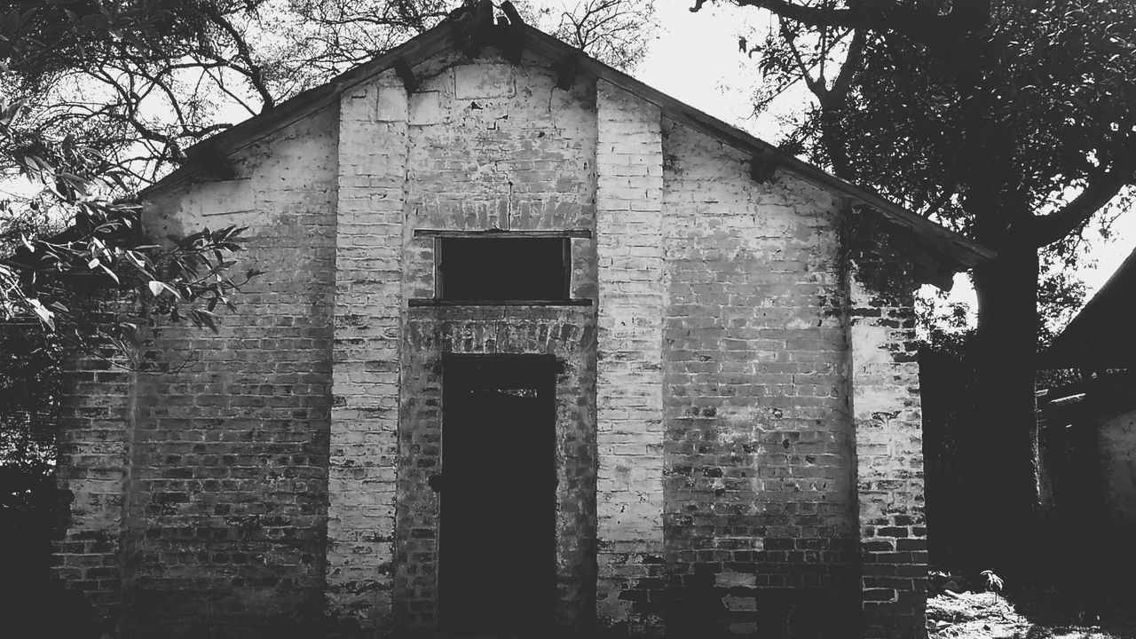 Blackandwhite Photography Building Exterior Built Structure Outdoors No People Gloomy Portrait Surrounded By Trees Unfettered Place