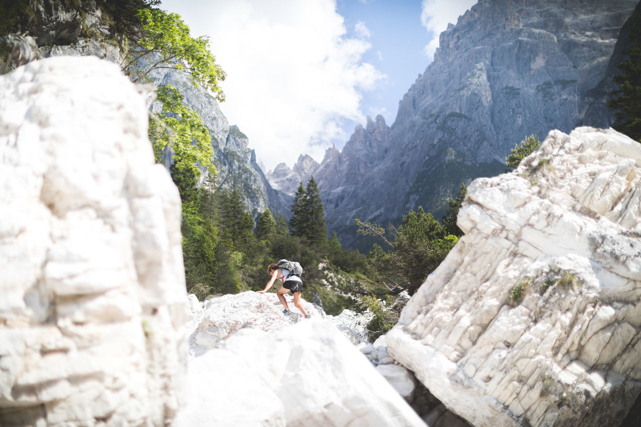 A big mudflow destroyed the hiking trail in this beautiful valley 2 years ago. Since then it is up to you to find a way though it. Adventure Beauty In Nature Challenge Climbing Day Dolomites, Italy Extreme Sports Friend Mountain Mountaineering Nature One Person Outdoors Rock - Object Rock Climbing Sky The Great Outdoors - 2017 EyeEm Awards Travel