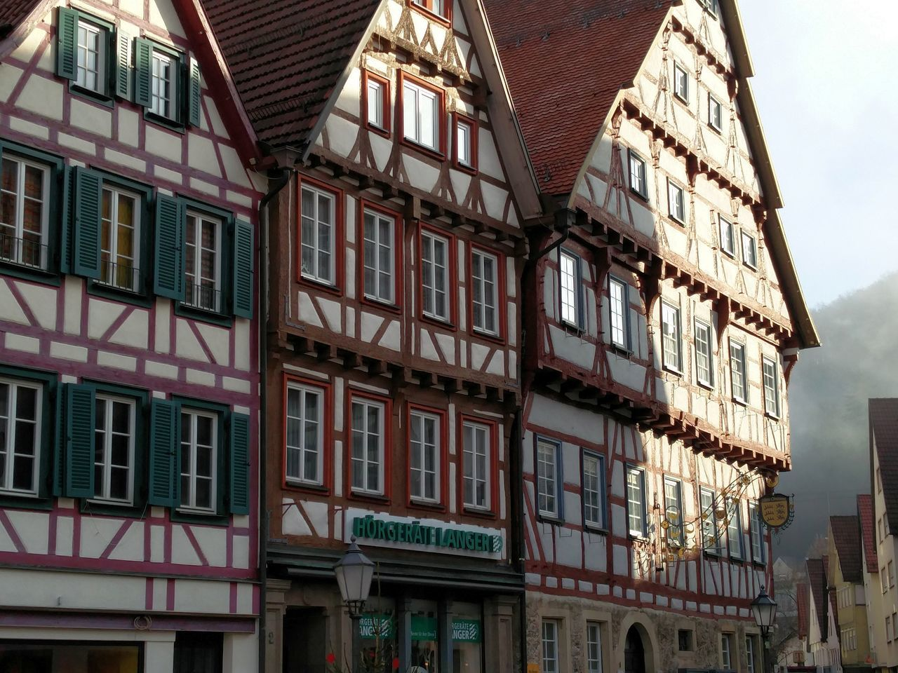 idyllic provincial town Architecture Building Exterior Built Structure City Façade Fachwerk Perspective Residential Structure Timber Frame Oneplus2
